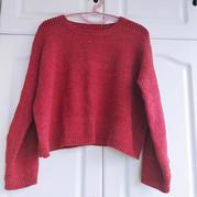 櫻桃紅小衫  仿淘寶款簡約時尚女士棒針休閑毛衣
