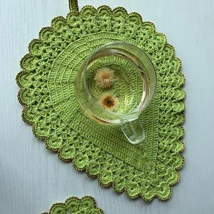 娃娃家2.0钩针树叶餐垫与杯垫