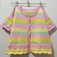 果糖色彩色条纹儿童棒针短袖小开衫