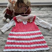 簡單可愛雙色鉤針寶寶背心裙