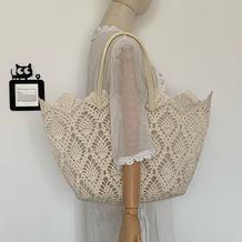 仿罗兰包 女士钩针菠萝花样蕾丝镂空手提包