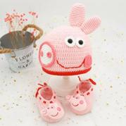 小豬佩奇系帶鞋(2-2)寶寶鉤針鞋帽手工編織編織視頻