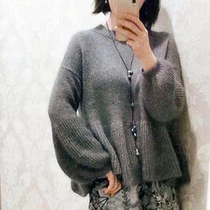 悠然 丝马女士棒针灯笼袖毛衣