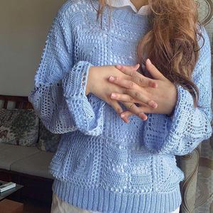非常简单的一款女士钩针方块拼花衣