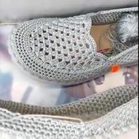 浅口鞋鞋面(3-2)手工编织钩针春夏浅口凉鞋编织视频教程