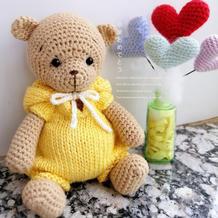 宝宝熊 穿背带裤的钩针小熊玩偶图解
