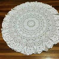 精美方格钩针蕾丝圆形大桌布