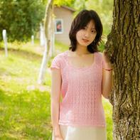雪妃尔8号蕾丝女士钩针短袖衫
