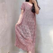樱桃裙 云素亚麻女士钩针菠萝花长款短袖连衣裙