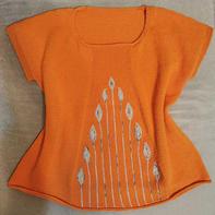 花蕾or凤梨   织法独特的女士棒针短袖套衫