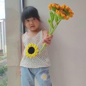 可爱宝宝钩针向日葵吊带背心(附图解)