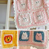 动物毯子主体钩法(4-1)卡通动物钩针拼花毯编织视频