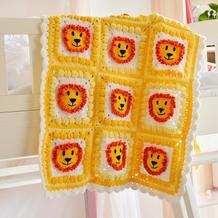 狮子图案钩法(4-2)卡通动物钩针拼花毯编织视频