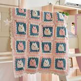 猫咪图案钩法(4-3)卡通动物钩针拼花毯编织视频