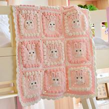兔子图案钩法(4-4)卡通动物钩针拼花毯编织视频
