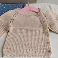 棒针婴儿插肩袖斜开襟衫