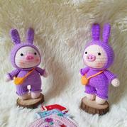 胖胖的变装小猪 娃娃家2.0公益编织萌可爱小猪玩偶