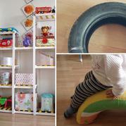 動手能力超強的寶媽舊輪胎改搖搖玩具、方木DIY玩具架