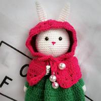 萌可爱钩针玩偶红色斗篷兔(附图解)