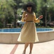 鉤織結合女士大U領森系寬松連衣裙