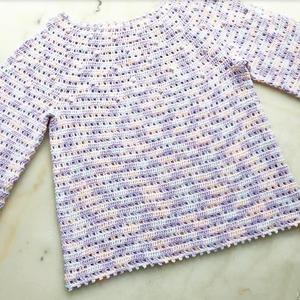 雨过天晴 云浅儿童钩针七分袖育克圆肩套衫
