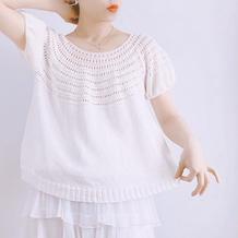 少年游 云清女士棒针泡泡袖圆肩短袖套衫