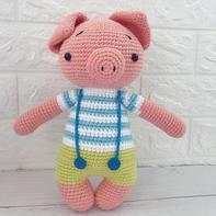 小胖猪(3-1)背带裤钩针小猪玩偶编织视频