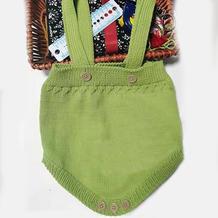 看图仿婴儿棒针背带爬爬裤