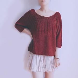 红袖 云素花染麻棉女士棒针育克圆肩大圆领毛衣