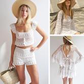 """这个夏天的""""小白""""到位了吗?(3-3)加拿大服饰品牌清爽白色钩针蕾丝衣"""