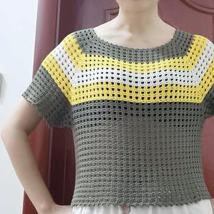 零线编织从领向下织的钩针育克插肩袖网格衫