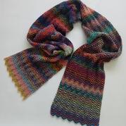 花蜜儿女士棒针水波纹围巾