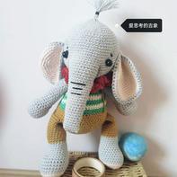 爱思考的吉象  寓意吉祥的可爱可通钩针象玩偶