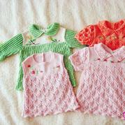 可爱儿童棒针花边领绣花裙式娃娃衫