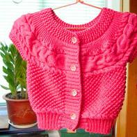 儿童棒针经典花样横织圆肩小开衫的编织方法