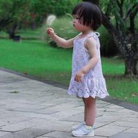 紫萝 2岁宝宝的云浅钩针吊带背心裙