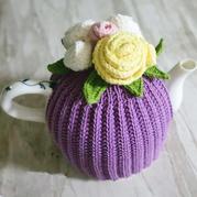 简单大方钩织结合茶壶套
