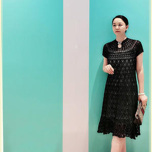 黑樱桃 女士水滴领钩针短袖长裙