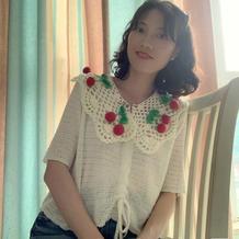 仿明星款森女系甜美钩针樱桃装饰领