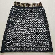 黑色丝麻线女士钩针蕾丝镂空半裙
