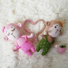 情侣猴 娃娃线2.0钩针编织猴子玩偶