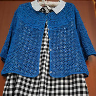 葱蓝 简单大方女士钩针蕾丝开衫