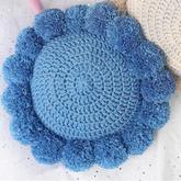简约时尚绒球装饰钩针圆形抱枕编织视频教程