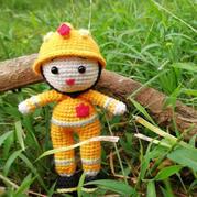 致敬最美消防员 创意毛线编织钩针娃娃图解