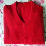 红红火火本命年男士棒针红色羊绒衫