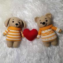 两个好朋友 娃娃家编织钩针狗狗和小熊