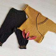 棒针婴儿长袖开衫和尚服与裤子套装