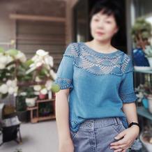 改版珠扇 钩织结合女士育克圆肩短袖套衫
