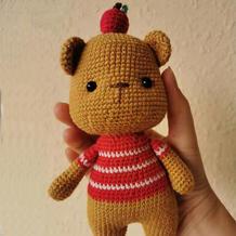 苹果小熊   顶苹果的小熊钩针玩偶图解