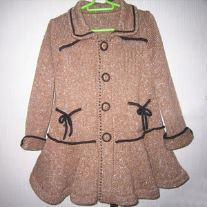 儿童棒针荷叶边翻领开衫外套